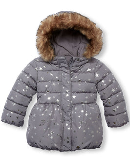 Toddler Girls Long Sleeve Foil Star Print Faux Fur Hooded Lightweight Puffer Jacket Silver