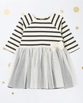BABY GIRL'S TULLE AND STRIPED JERSEY DRESS