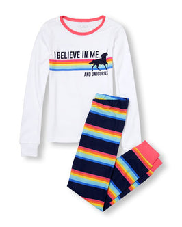 Girls Love Sleeve 'I Believe In My And Unicorns' Top And Rainbow Striped Pants PJ Set
