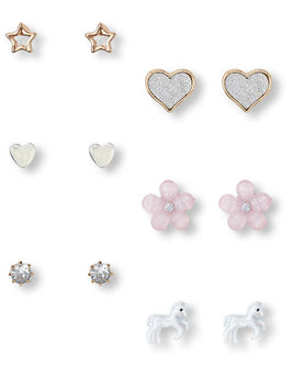 Girls Unicorn Earrings 6-Pack