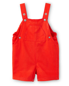 Baby boy short overalls in plain twill