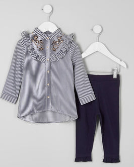 River Island Mini girls frill shirt outfit