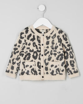 River Island Mini Girls Cream Leopard Print Cardigan