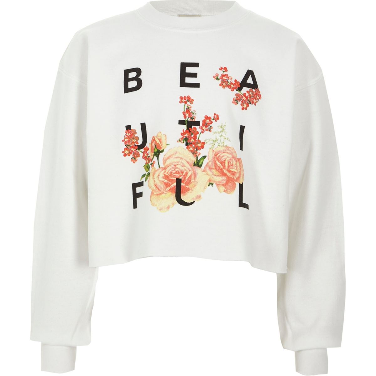 River Island white 'beautiful' cropped sweatshirt