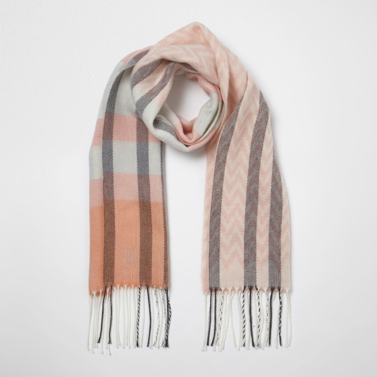 River Island Girls check geo knit scarf