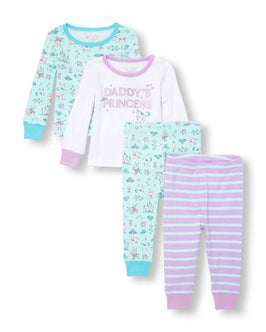 Baby And Toddler Girls Long Sleeve Glitter 'Daddy's Princess' Unicorn Tops And Pants 4-Piece PJ Set