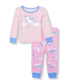 Baby And Toddler Girls Long Sleeve 'I Believe In Me' Unicorn Graphic Top And Printed Pants PJ Set