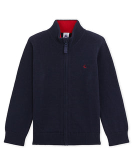 Boy's wool and cotton cardigan