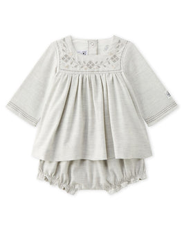 Baby girl's embroidered twill dress with bloomers