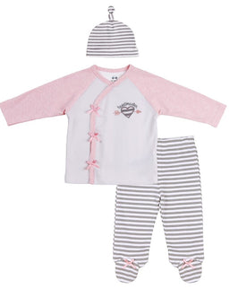BABY OUTFIT (KIMONO-STYLE TOP, FOOTIE PANTS, MATCHING HAT)