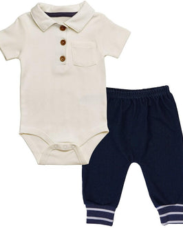 BABY OUTFIT (POLO BODYSUIT W/ HAREM STYLE KNIT JEANS)