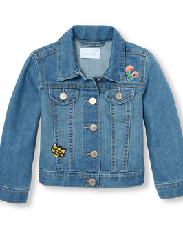 Toddler Girls Embroidered Denim Jacket