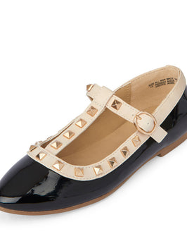 Girls Studded T-Strap Becca Flat