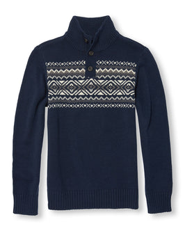 Boys Long Sleeve Fair Isle Button Mock Neck Sweater