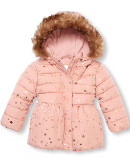 Toddler Girls Long Sleeve Foil Star Print Faux Fur Hooded Lightweight Puffer Jacket