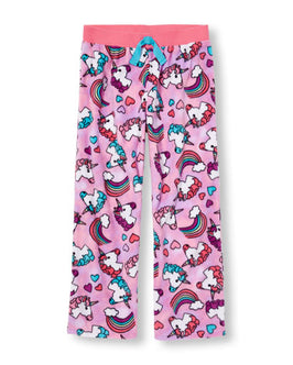 Girls Unicorn And Rainbow Print Glacier Fleece PJ Pants
