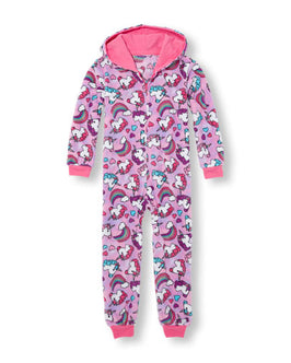 Girls Long Sleeve Unicorn And Rainbow Print Hooded One-Piece Sleeper