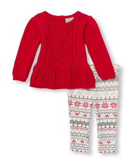 Baby Girls Long Sleeve Peplum Cable Sweater And Fair Isle Printed Leggings Set