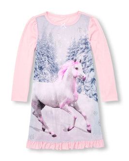 Girls Long Sleeve Glitter Unicorn Ruffle Nightgown