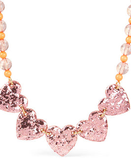 Girls Glitter Heart Beaded Ribbon Necklace