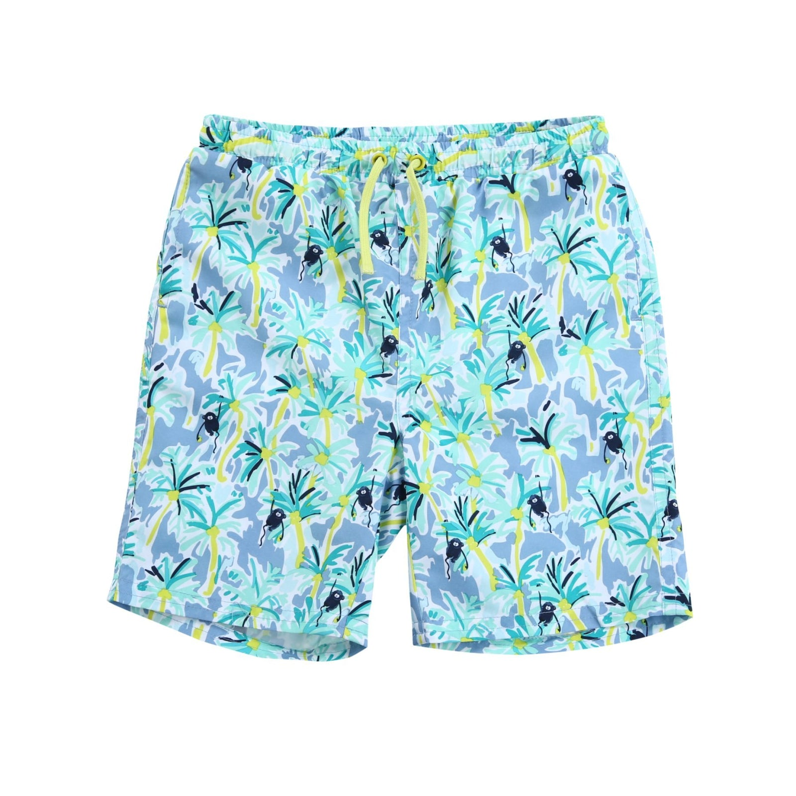 80548f35db9 Boys Tropical Print Drawstring Swim Trunk