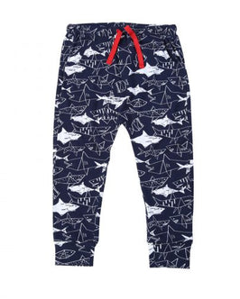 Graphic Shark Print Jersey Pants
