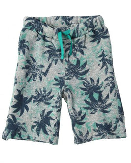 Tropical Palm Tree Print French Terry Short