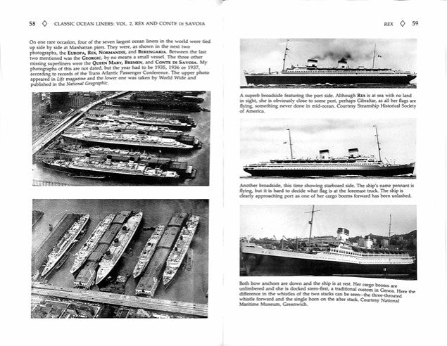 "REX & CONTE DI SAVOIA: 1932 - ""Classic Ocean Liners Vol. II"" by Frank Braynard"