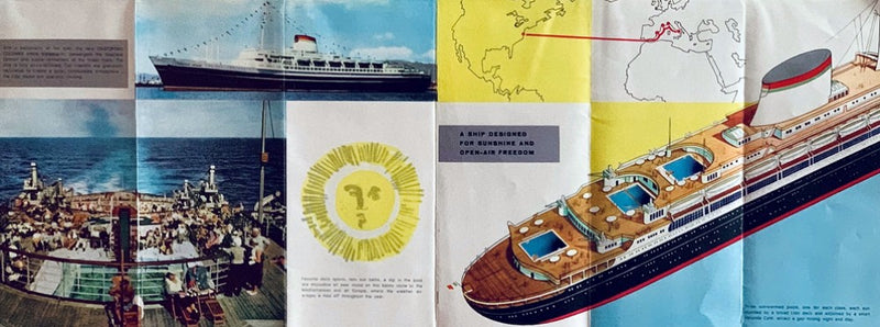 CRISTOFORO COLOMBO: 1954 - Interiors brochure w/ ANDREA DORIA over-stamped in silver