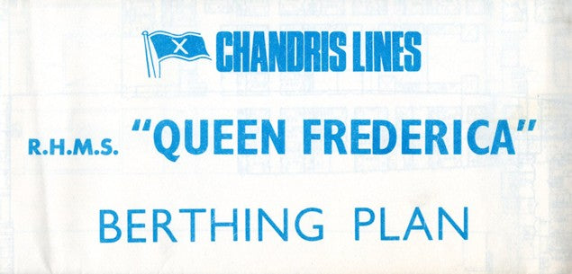 QUEEN FREDERICA: 1927 - Large tissue deck plan from 1970
