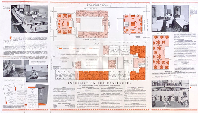Various: pre-war - 1934 Baltimore Mail Line plans, interiors, sailings