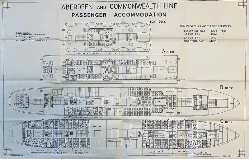 Various: pre-war - 1930s Aberdeen & Commonwealth deck plan of 4 sisters