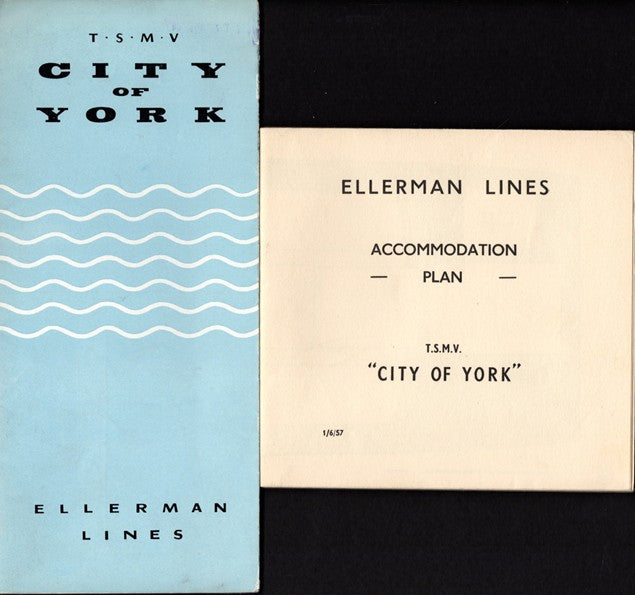 CITY OF YORK: 1953 - Deck plan & interiors brochure