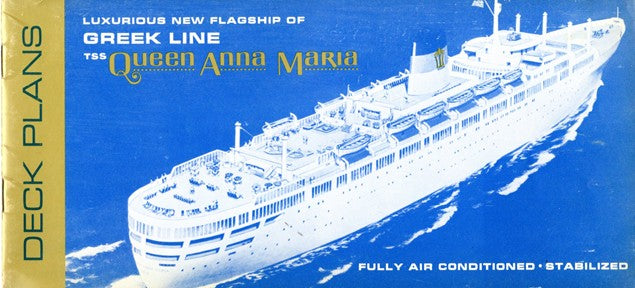 QUEEN ANNA MARIA: 1956 - Deck plan booklet