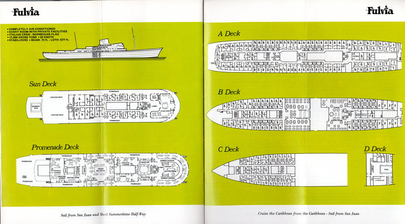 FULVIA: 1949 - Costa brochure w/ interiors & plans - sank & burned in 1970