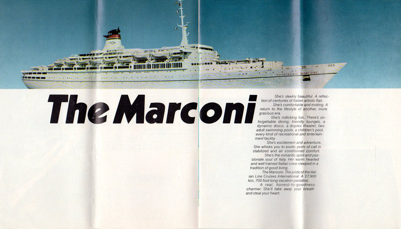 MARCONI: 1963 - Cruise brochure w/ plans from 1979