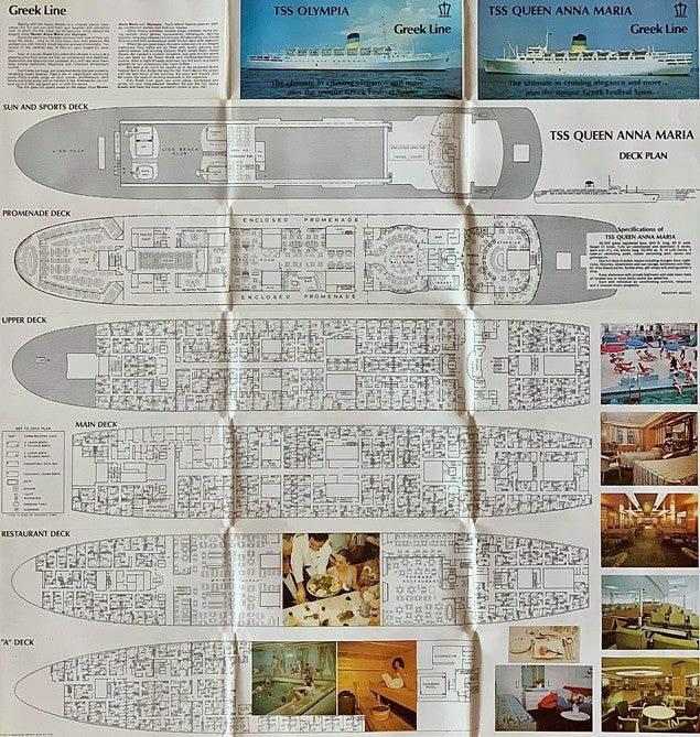 OLYMPIA & QUEEN ANNA MARIA - Joint fold-out deck plans w/ 28 color photos