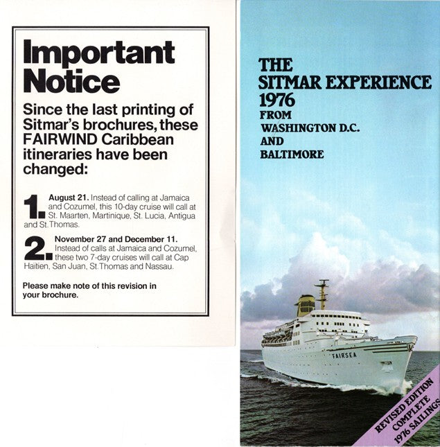 "FAIRSEA & FAIRWIND -  ""Sitmar Experience 1976"" w/ color pics & plans + fold-out Baltimore cruises"