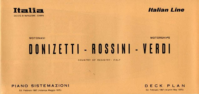 DONIZETTI, ROSSINI & VERDI: 1952 - Fold-out deck plan w/ interiors from 1975