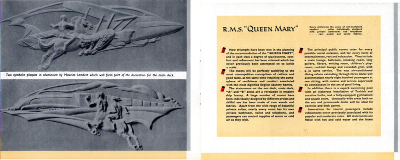 QUEEN MARY: 1936 - Pre-maiden art & interiors brochure