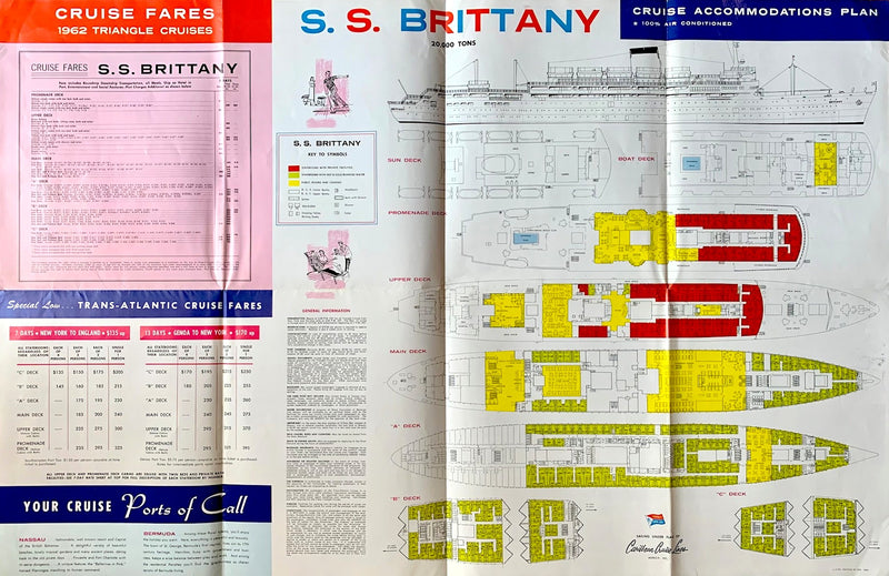 BRITTANY: 1952 - Large cruise brochure w/ plans & interiors from 1962