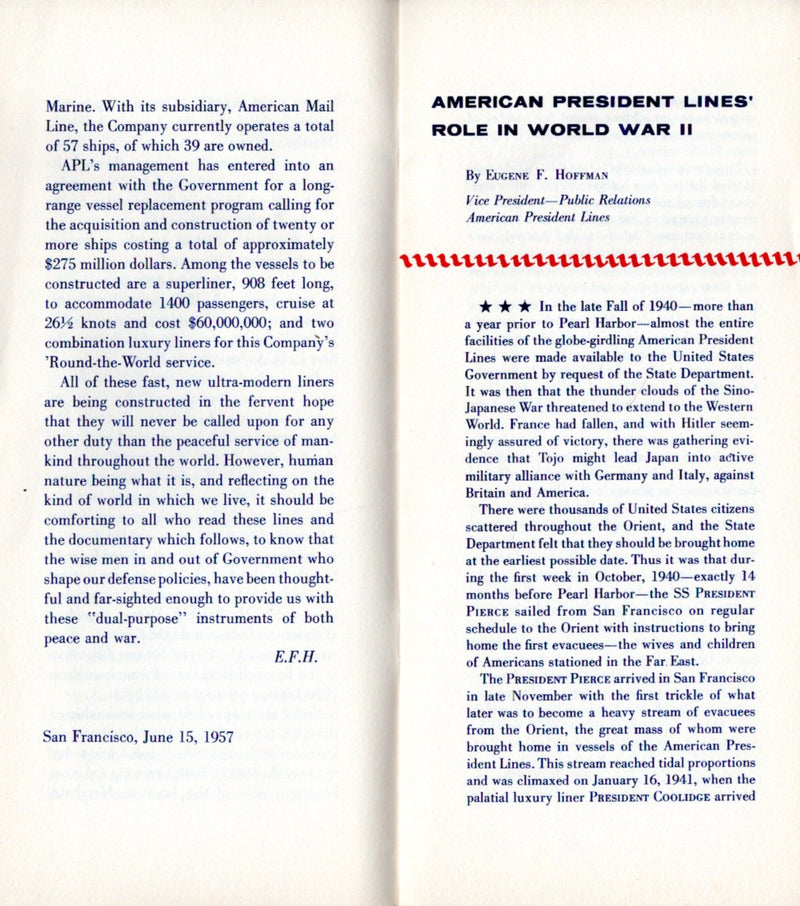 "Various: pre-war - ""American President Lines' Role in WW2"""