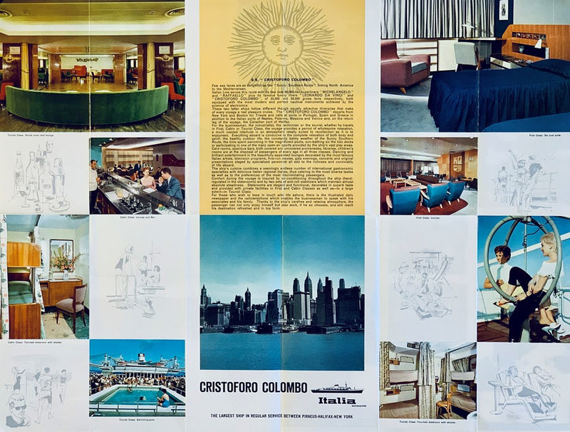 CRISTOFORO COLOMBO: 1954 - Fold-out interiors brochure in English