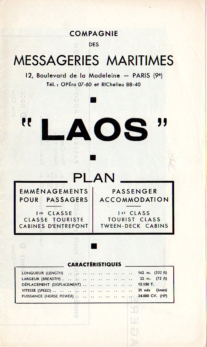 LAOS: 1954 - Tissue deck plan w/ interior photos