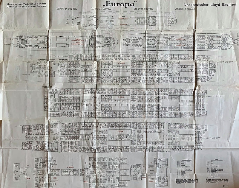 EUROPA: 1930 - Big 1930 tissue deck plan for First & Second classes
