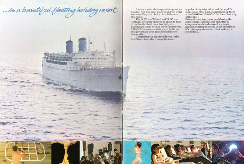 Various Ships - 1972 Chandris around-the-world brochure w/ 4 famous old liners
