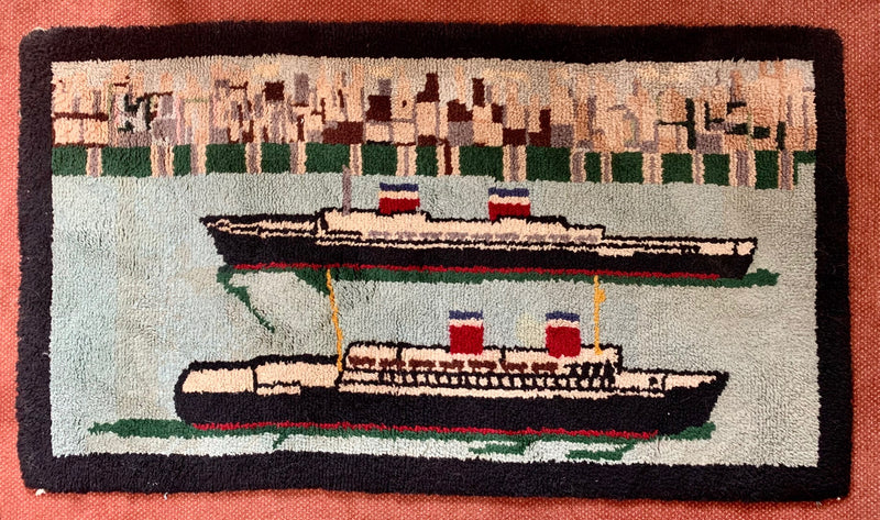UNITED STATES & AMERICA - Custom-made hooked rug showing ships passing
