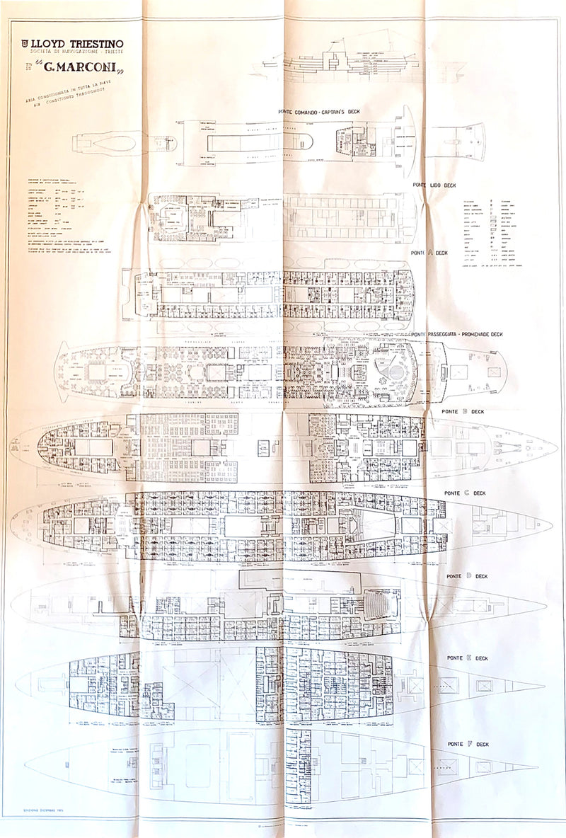 GUGLIELMO MARCONI 1963 - Very large full ship deck plan
