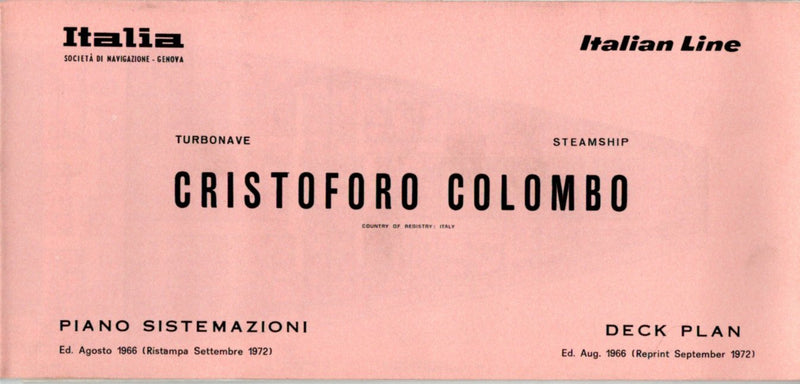 CRISTOFORO COLOMBO: 1954 - Full ship plan w/ interior photos