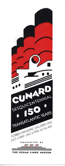 Various: pre-war - Ocean Liner Museum Cunard 150th Anniversary Exhibit booklet
